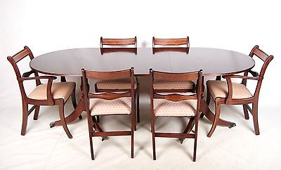 Antique Dining Table and Chairs Inlaid Mahogany 6 Chairs Carvers Fine Quality Re