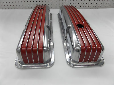 S B Chevy Tall Red Fin Val Covers Cr# X091