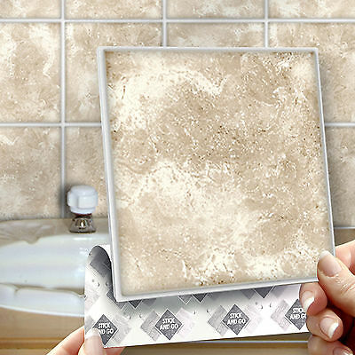 8 Stick & Go Marblestone Stick On Wall Tiles for Bathrooms or Kitchens