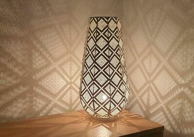 Moroccan Style Jeweled Cutwork Flower Table Lamp Vintage Shabby Chic Colourful