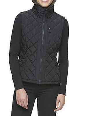 Andrew Marc Women's Quilted Vest,Full-Zip,Black, Size M/M