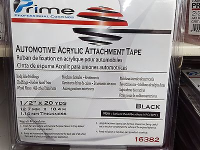 Double Sided Automotive 1/2 Inch x 20 Yds 60' Foot BLACK Tape FREE SHIPPING
