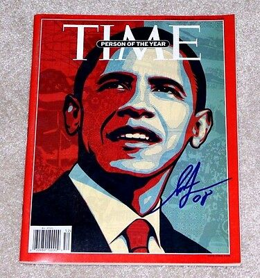 Shepard Fairey Signed Barack Obama Person Of The Year Time Magazine 2008 W/coa