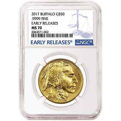 2017 $50 American Gold Buffalo 1oz. NGC MS70 Blue ER Label