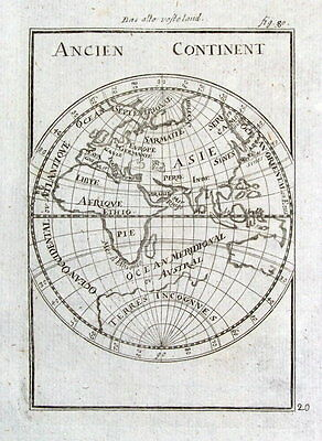 EASTERN HEMISPHERE, OLD WORLD, ANCIEN CONTINENT, Mallet orig. antique map 1719