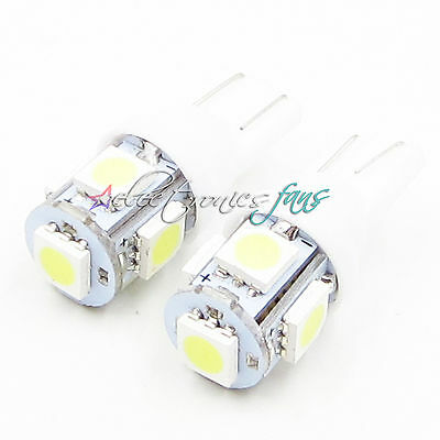 2PCS T10 5050 W5W 5 SMD 12*30m 194 168 LED Weiß Car Side Wedge Tail Licht Lampe