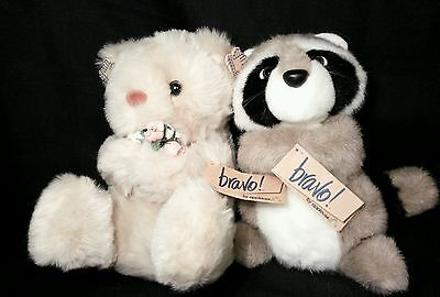 Cute vintage Applause Bravo Plush stuffed Bear flowers Racoon Forest Animal lot