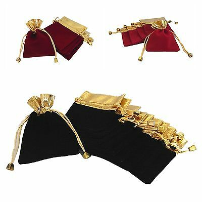 8x Velvet Jewellery Gift Bags Pouches Black/Red/Cherry red 7x9/9.5x12cm Wedding