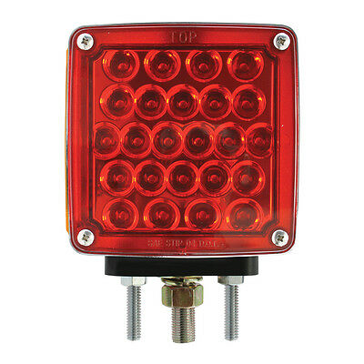 LED lights(2) 2 faced square pearl turn signal lite amber/red lens 1 or 2 studs