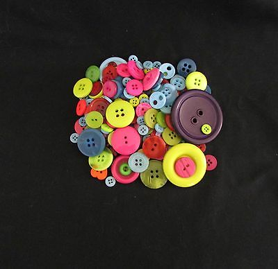 100 grams - 200+ - Bright Craft Mixed Colour Buttons - Great for scrapbooking!