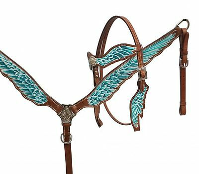 Teal and White Angel Wings western bridle breastplate set.