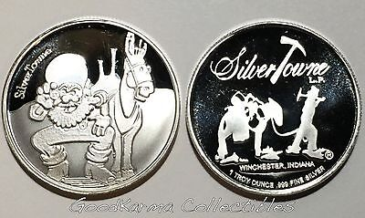 Collectible American Prospector & Mule 1oz 999  Silver Art Bar Round SILVERTOWNE
