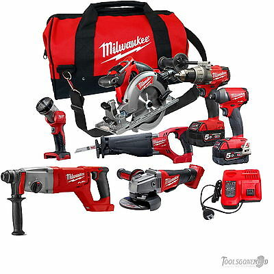 Milwaukee 18V M18Fpp6C-502+M18Chd Rotary Hammer 7 Pc Fuel Brushless Kit Next Gen