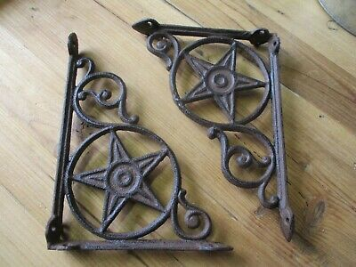8 Cast Iron Antique Star Brackets Garden Braces Shelf Bracket RUSTIC Vintage