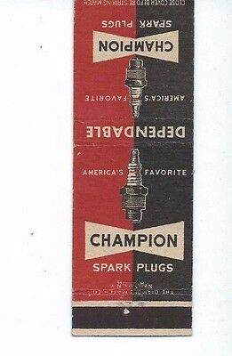 MATCHBOOK COVER  Champion Dependable Spark Plugs