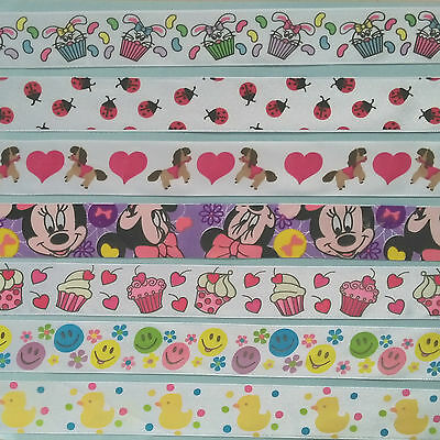 Printed Satin Ribbon ~ 3 Metres ~ Minnie Mouse, Ladybugs, Smiley and More