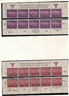 POLAND, GERMAN OCCUPATION STAMPS SC#NB15-17 MNH Set Upper & Lower Sheet Margins