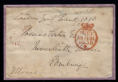 Great Britain,1838 Pre Stamps Front Letter, Postage Free Orange Cancel