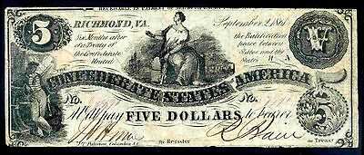 Confederate States, Five Dollars, 628911. September 2, 1861,  Fine .