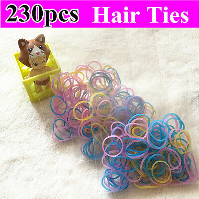 230pcs Mini Hair Elastics Ties Babies Girls Kids Rubber Plait Bands Ties rainbow
