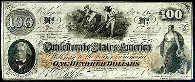 Confederate States, 100 Dollars, 169291,  December 15,1862, Fine-Very Fine .