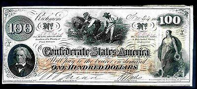 Confederate States, 100 Dollars, 50644, 1862, Extremely Fine .