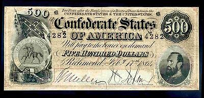Confederate States, 500 Dollars, 4282, Feb 17 1864, Good Fine or better .