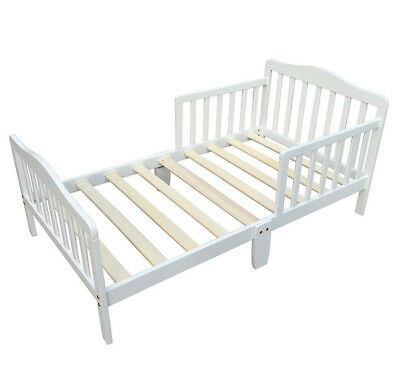 Toddler Bed with Guard Safety Rail White Wooden Kids Bed Bedroom Furniture Nurse