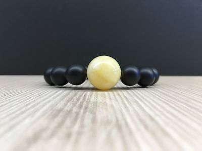 16g Natural Baltic Amber Bracelet Yellow White and Dark Colour Round Beads 琥珀色