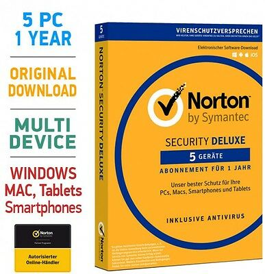 Norton Security 3.0 Deluxe 5 PC Geräte 1 Jahr 2017 Mac Android Internet TOP!!!