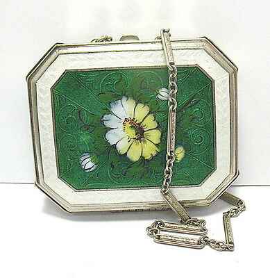 Antique Compact French Enamel On Silver Metal Wrist Chain