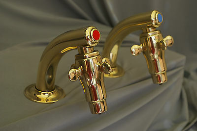 Brass Basin Taps Supa Taps Old Reclaimed & Fully Refurbed Ready 2 Fit Excellent