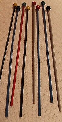 """VINTAGE 1950's CIRCUS CARNIVAL STICKS - Wooden Canes - 33.5"""" - VGC - LOT OF 8"""