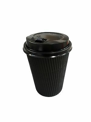 48pk Disposable Coffee Cups w Lids takeaway Thick Paper Cup Take Away 350ml