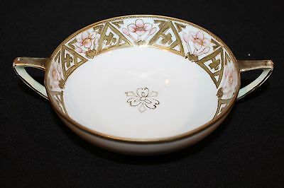 Antique NIPPON Porcelain Double Handled Hand Painted Compote Bowl 5.5""