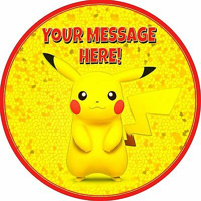 """7.5"""" Round Pikachu Personalised Cake Topper ICING"""