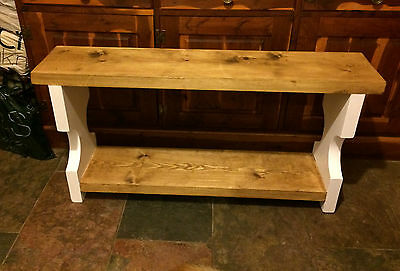Rustic Shabby Chic Handmade Solid Wooden Bench/ Pew with shoe shelf