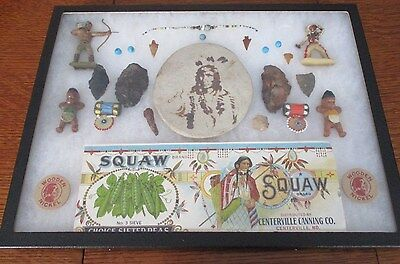 """Native American Indian  BEAD WORK - ARROWHEADS - DOLLS - COLLECTABLES 16X12"""""""