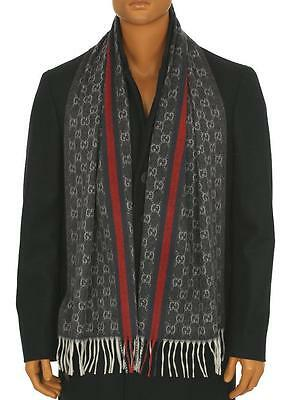 New Gucci Men's Luxury 100% Cashmere Web Detail Guccissima Neck Scarf Wrap Shawl