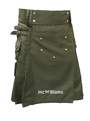 McWilliams ACTIVE MEN'S DELUXE OLIVE GREEN SPORT UTILITY KILT