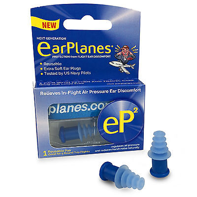 Flying EarPlanes eP2 reusable Earplugs - Protection from flight ear discomfort
