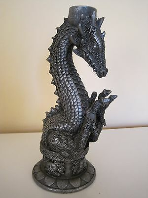 """1997 Gothic Dragon Candle Holder Pewter Finish Resin? 8.25"""" H Summit - Claw Flaw"""