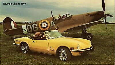 1970s Triumph Spitfire 1500 Automobile RAF Fighter Airplane Car Dealer Postcard