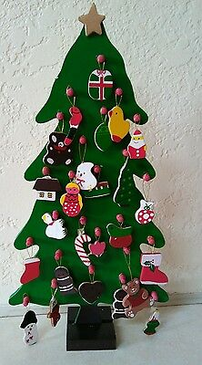 Rare Vintage Wooden Advent Christmas Tree Calendar w/25 Ornaments Lego 1989