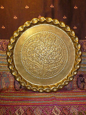 "Vintage Middle Eastern Moroccan Brass Repousse Tray Fluted Edges 16"" Table Top"