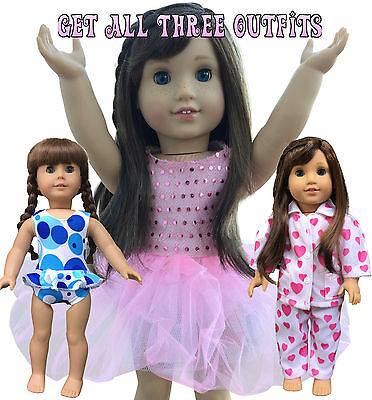In_Style American Girl Doll Clothes fits 18 inch dolls three outfits new