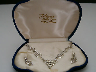 Vintage Hand Made NOS Filigree Sterling Silver Rhinestone Necklace Earrings Set