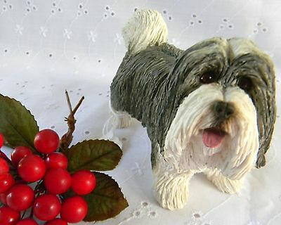 "New WOB SANDICAST BEARDED COLLIE Cute Dog Figurine 3.5"" Tall 5.5"" Long M486"