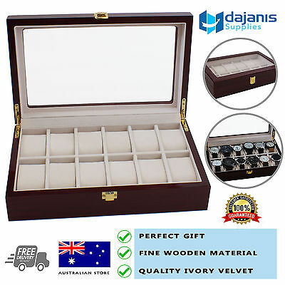 New 12 Compartments Wooden Watch Jewellery Box Wristwatch Display Storage Case