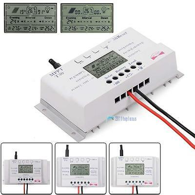 LCD 10/20/30/40A 12V/24V MPPT Solar Panel Regulator Charge Controller 3 Timer@DH